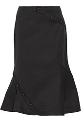 Fluted Cotton Blend Twill Skirt Black
