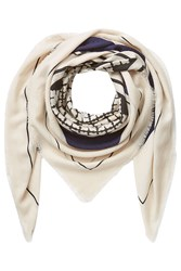 By Malene Birger Patterned Wool Scarf Beige