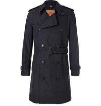 Burberry Kensington Double Breasted Cotton Gabardine Trench Coat With Detachable Gilet Navy