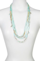 Sparkling Sage Detailed Mixed Bead Layer Necklace Blue