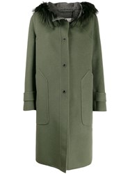 Manzoni 24 Fur Trim Hooded Coat Green