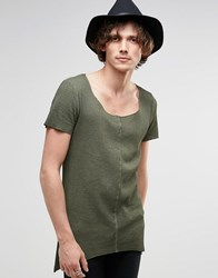 Asos Super Longline Muscle T Shirt In Waffle Acid Wash With Pointed Hem Green