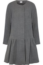 Milly Fluted Wool Blend Twill Coat Gray