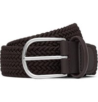 Andersons 3.5Cm Brown Leather Trimmed Woven Elastic Belt