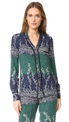 Yigal Azrouel Trellis Printed Blouse Midnight Multi