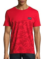 Puma Printed Short Sleeve Cotton Tee Red
