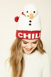 Forever 21 Snowman Chill Beanie Cream Red