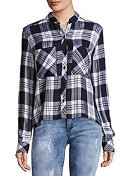 Rails Dylan Plaid Button Down Shirt White Navy