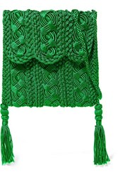 Carrie Forbes Youssef Small Crocheted Cord Shoulder Bag Green