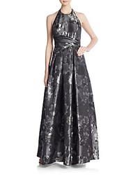 Carmen Marc Valvo Collection Floral Brocade Gown Pewter