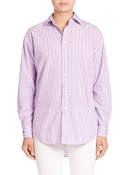 Polo Ralph Lauren Cotton Striped Button Front Shirt Lilac White