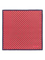 Thomas Pink Heart And Flower Print Pocket Square Navy