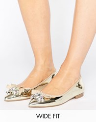 Asos Luca Wide Fit Embellished Ballet Flats Gold