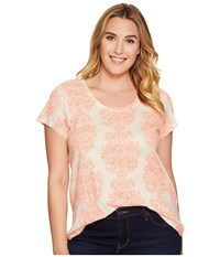 Lucky Brand Plus Size Neon Woodblock Tee Natural Multi Women's T Shirt
