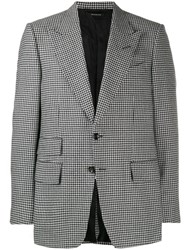 Tom Ford Houndstooth Wool Blazer Black