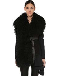 Off White Quilted Waistcoat W Shearling Black