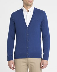 Lacoste Blue Tone On Tone Cotton Logo Button Cardigan