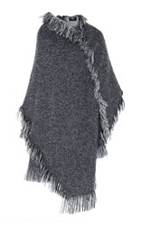 Paule Ka Tweed Fringe Blanket Coat Grey