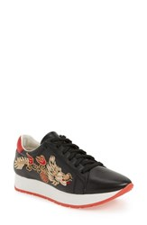 Linea Paolo Enzo Embroidered Sneaker Black Red Leather