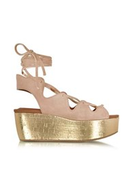See By Chloe Liana Powder Pink Suede Lace Up Wedge Sandal
