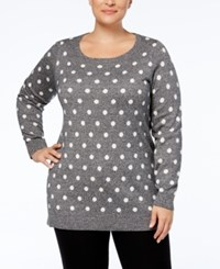 Charter Club Plus Size Printed Tunic Sweater Created For Macy's Deep Black Combo
