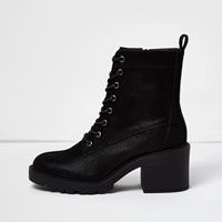 River Island Womens Black Chunky Lace Up Boots