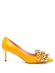 Rochas Beaded Point Toe Leather Pumps Yellow Gold