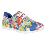 Lotus Meadow Floral Print Lace Up Trainers Blue