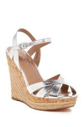 Charles By Charles David Astro Leather Espadrille Wedge Sandal Metallic