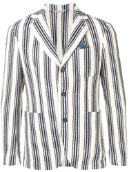 Manuel Ritz Striped Fitted Blazer Neutrals