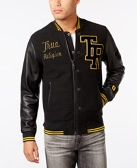 True Religion Men's Collegiate Leather Sleeve Jacket Black