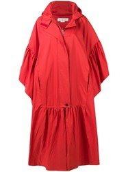 Golden Goose Deluxe Brand Hooded Liv Cape Red