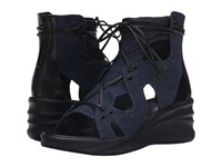 Elie Tahari Street Dark Blue Denim Black Calf Crust Women's Wedge Shoes