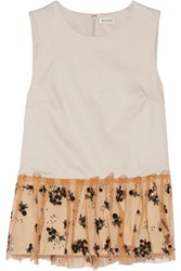 Suno Embellished Mesh Trimmed Cotton Poplin Top Off White