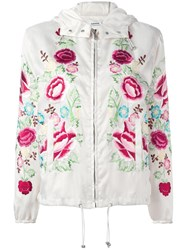 P.A.R.O.S.H. Floral Embroidered Hooded Jacket White
