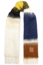 Loewe Fringed Striped Mohair And Wool Blend Scarf Ivory