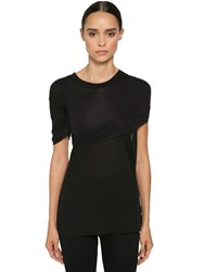 Unravel Wrapped Cotton Jersey T Shirt Black