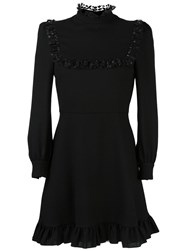 Saint Laurent Ruffle Trim Shift Dress Black