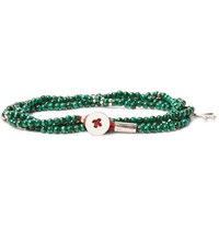 Isaia Saracino Malachite And Silver Bead Wrap Bracelet Green