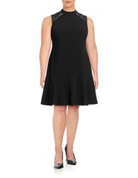 Ivanka Trump Plus Faux Leather Accented Sheath Dress Black