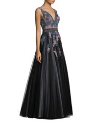 Basix Black Label Embroidered V Neck Sleeveless Ball Gown Teal Multi