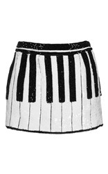 Dolce And Gabbana Piano Key Sequin Mini Skirt White Black