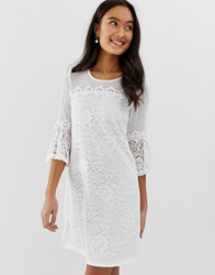 Qed London Lace Mini Dress With Bell Sleeve In White