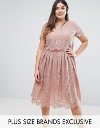 Truly You Cap Sleeve Double Layer Lace Dress Rose Pink