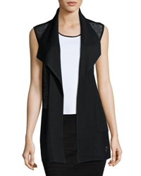 Misook Plus Mesh Panel Knit Vest Blk