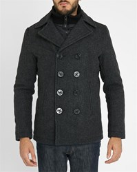 Schott Nyc Charcoal Removable Liner Wool Pea Coat