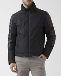 Colmar Down Biker Jacket With Quilted Panel Black