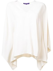 Ralph Lauren Collection V Neck Flared Blouse White