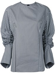 Le Ciel Bleu Gingham Drawstring Shirt Women Cotton Polyester 38 Black