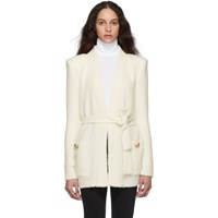 Balmain Off White Mohair Belted Cardigan